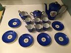 Antique Demitasse Set - Blue with Flower Print - Free Shipping, No Reserve