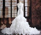 Gorgeous White Beaded Crystal Mermaid Wedding Dresses trailing Bride Gown Custom
