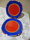 2 Dansk Caribe-Antigua Stripe Red Blue Multi-Color Painted Salad Dessert Plates