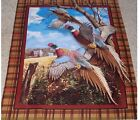 Pheasant Crested Ringneck Wall hanging Quilt top Panel Fabric Cotton Wildlife