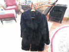 Pamela McCoy Notch Collar Faux Fur Coat Black Curly Lamb Excellent Condition M