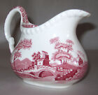 Spode China Pink Tower Creamer Pitcher England Discontinued Scenic w/Flowers