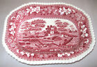 Spode China Pink Tower Oval Vegetable Bowl England Discontinued Scenic w/Flowers