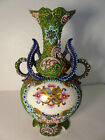 Stunning Antique Vtg Relief Hand Painted Japanese Moriage Vase 9
