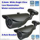 2pcs 700TV Lines 3.6mm Wide Angel View 24 IR LEDs Weatherproof In/Outdoor Camera