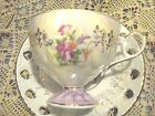 VINTAGE FINE BONE CHINA PEDESTAL CUP & SAUCER -FLORAL/PEARLIZED WHITE/GOLD TRIM
