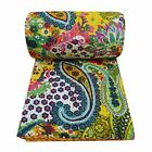 Indian Kantha Quilt Paisley Yellow Size Queen Cotton Reversible Bedspread Throw