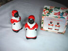 BX338   Vintage NIB  Salt & Pepper Mammies- Hand Painted Set of 2 - Christmas