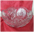VINTAGE/ANTIQUE CUT CRYSTAL GLASS BOWL W/ PINWHEEL STAR PATTERN