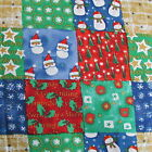 Christmas cheater patchwork cotton fabric calico blue red green tan BTHY Joanns