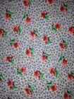 6.5 Yards red and Green Flowers on Light Blue Fabric By Peter Pan 100% Cotton