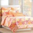 TROPICAL FLORAL QUEEN QUILT 3pc SET PINK ORANGE YELLOW WHITE CORAL NICOLE MILLER