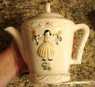 VTG Porcelier Teapot Vitreous China Hand Painted Dutch Girl Cottage Chic Tea Pot