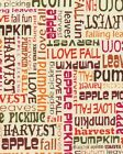 Fall Autumn Fabric Words Phrases Thanksgiving Harvest Leaves Apples Vintage Look