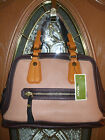 NWT ORYANY KENDALL PEBBLE LEATHER COLORBLOCK SATCHEL BAG-NUDE MULTI-BROWNS-QVC