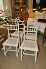 Set of Four Painted White French Arm Chairs with Cane, Late 19th Century