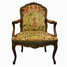 Vtg French Louis XV Style Carved Walnut Needlepoint Bergere Arm Chair Fauteuil