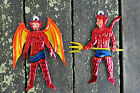 Set of 2 Devils - Mexican hand painted Tin ornaments - El Diablo - Folk Art
