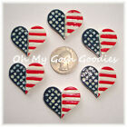 6PC PATRIOTIC STAR HEART FLAG FLATBACK RESINS FLAT BACK 4 HAIRBOW BOW CENTER