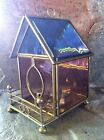 LARGE VINTAGE BRASS & STAINED GLASS HOUSE MUSIC BOX - WIND BENEATH MY WINGS