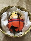 Balinese Hand Painted Egg Bali Folk Art Egg In Straw Basket With Lid!