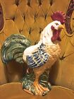 Italian Ceramic Kitchen Rooster Multi Color Vintage Handmade, Hand Painted Large