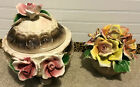 Vintage Capodimonte LOT 2 PORCELAIN Lidded Bowl Dish Centerpiece and Figurine