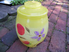 Bartlett Collins Hand Painted Glass Yellow Covered Lidded Cookie Jar Canister