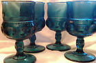 Vintage INDIANA Glass 4 KINGS CROWN THUMBPRINT Colonial Blue 8 oz Goblets LOOK!!