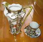 Vintage Nippon Hand Painted Moriage Chocolate Pot, Cup & Saucer with Gold Trim