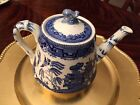 ANTIQUE BLUE WILLOW TEAPOT RIDGWAY 1832  BLUE DIAMOND MARK