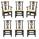 6 Vtg Ethan Allen Chippendale Georgian Carved Cherry Dining Room Side Arm Chairs