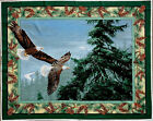 EAGLES SOARING PINECONE BORDER WALLHANGING WILD WINGS 100% COTTON FABRIC PANEL
