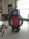 Vintage Mid Century Black Metal Scroll Gothic Retro Red Glass Swag Light Lamp