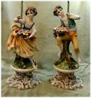 Vintage Pair Ceramic Statue Figurine Couple Table Lamp Made in Italy