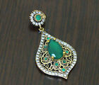 Sterling Silver 925 K Handmade Pendant Turkish Vintage with Gemstones