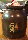 Vintage Crock Jug Jar w/ Fabric Covered Lid Decoupage Dutch Girl