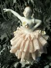Antique Porcelain Dresden Figurine Woman Ballerina Dancer Pink Lace Dress