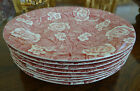 Eight (8) Vintage Burleigh Victorian Chintz Transferware Dinner Plates