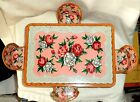 Marusan Toys Tin Litho Dollhouse Table & Chairs Red White Roses SAN Japan 1950s