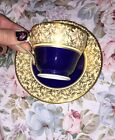 AYNSLEY TEA CUP AND SAUCER COBALT BLUE & GOLD Small TEACUP