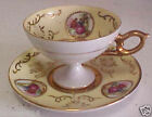 Vintge Arnart Demi Cup & Saucer Encrusted Gold w/People