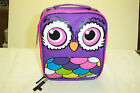 KIDS CHILD INSULATED LUNCH BAG NEW WITH TAGS DUAL ZIPPER CUTE OWL PRINT