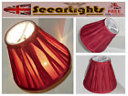 CANDLE LAMPSHADE CLIP ON CHANDELIER CLARET SHADE PLEATED RED POLLY SILK REGAL BN