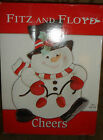 Fitz and Floyd CHEERS Snowman CHRISTMAS Holiday Chip And Dip Platter NIB