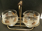 Vintage 60's Cream & Sugar Bowls in Tray Frosted Glass Gold Trim Leaves Band