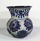 19th Century Russian Art Pottery Ceramic Vase Red-ware Cobalt Blue Glaze Flowers