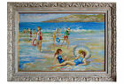 1950s Oil on Canvas Beach Scene, Signed
