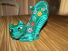 Mexican Hand Painted Art Pottery Cat Figurine, Glossy Glaze, BEAUTIFUL!