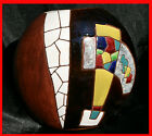 KERAMOS ENAMEL CERAMIC MOSAIC HAND PAINTED POTTERY ART DECO ABSTRACT VASE ISRAEL